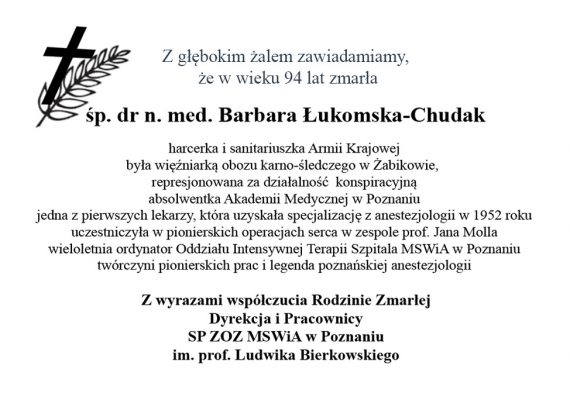 Odeszła od nas dr n. med. Barbara Łukomska-Chudak